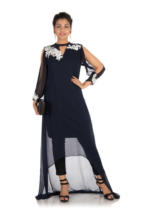 Hand embroidered Navy blue asymmetrical tunic dress