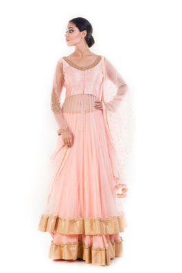 Peach and Golden Embellished Jacket Lehenga Set