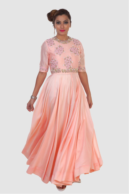 Pink Chanderi Silk Sheer gown with skirt