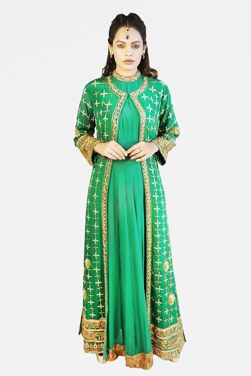 Bottle Green Jacket Anarkali