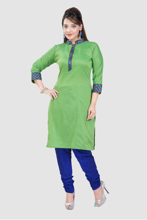 Green Kurti in Banarsi Cotton