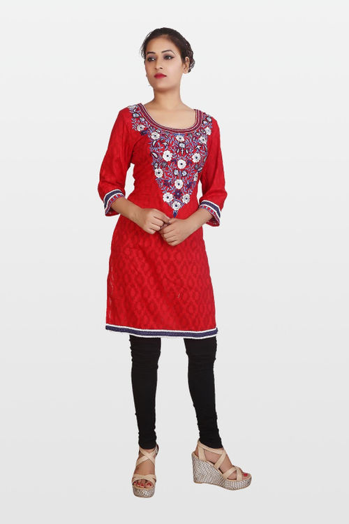Red Cotton Jacquard Kurti with Colour ful Embroidery