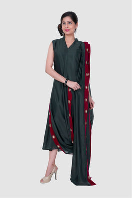 Draped tunic dress with attached dupatta