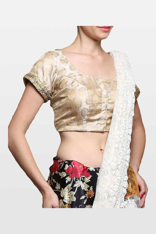 Off White Brocade Blouse