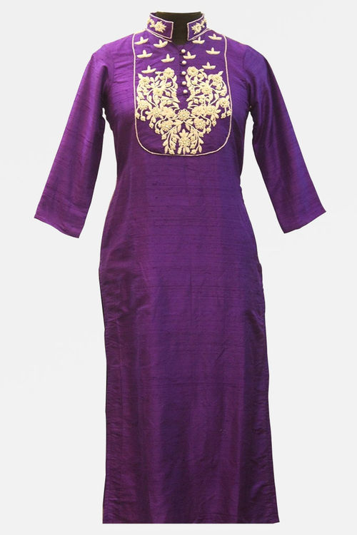 Purple raw Silk Kurti with intricate hand embroidery