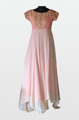 Pink Georgette Gown with Asymmetric Hemline
