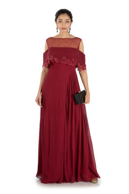 Wine Layered Jumpsuit With Offshoulder Cape