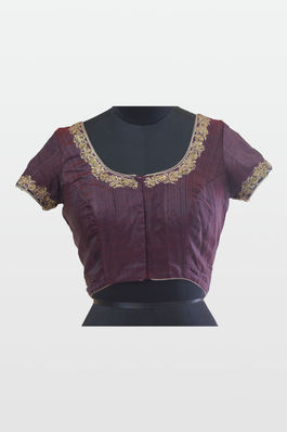 Raw Silk Blouse with gold thread and pita work
