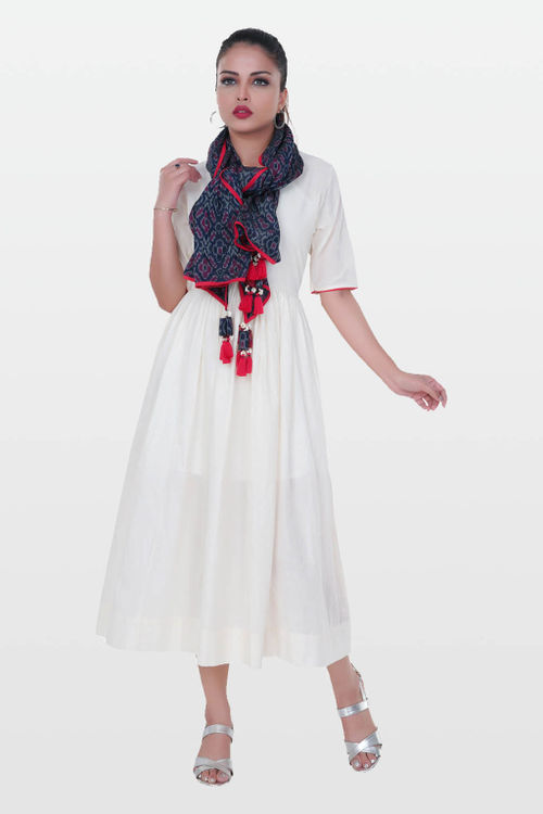Cotton Dress with Ikat Stole