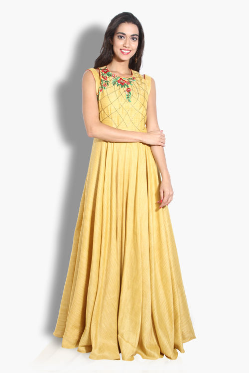 Yellow Floor Length Gown