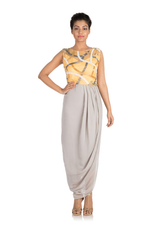 Hand embroidered Earthy grey draped dress with mango yellow yoke