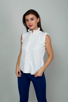 White Ruffle Button Down Shirt