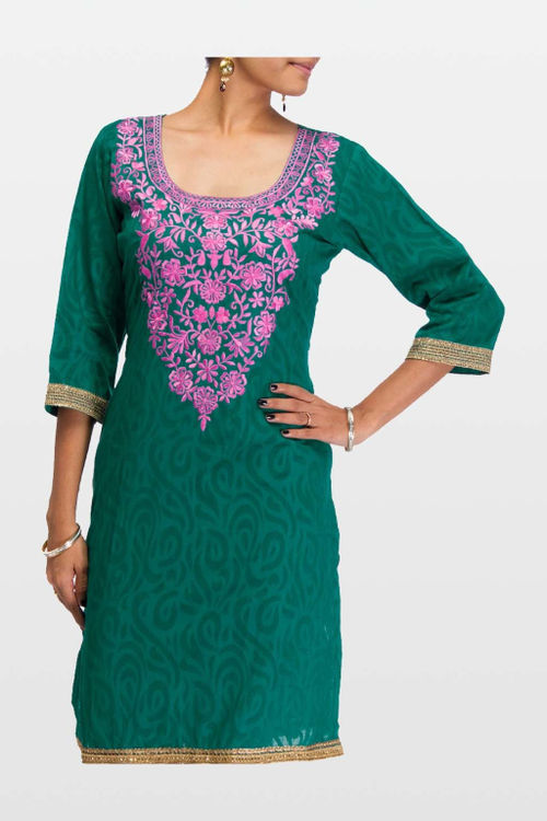 Teal Kurta with Pink Embroidery