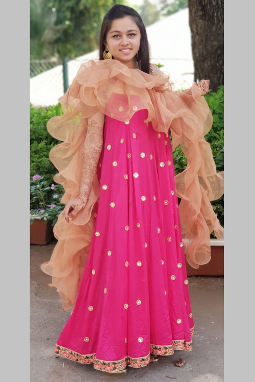 Long Gown with ruffle dupatta