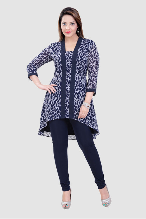 Blue Printed Georgette Tunic