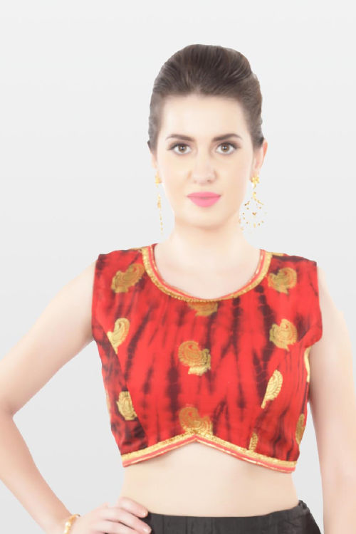 Red georgette saree blouse