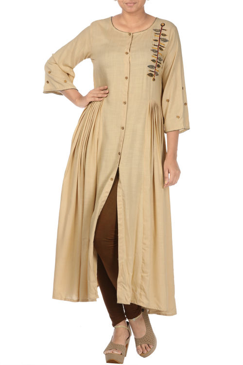 Beige Pleated Tunic