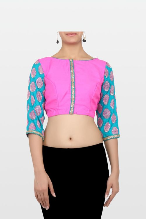 Pink and Blue Raw Silk Blouse