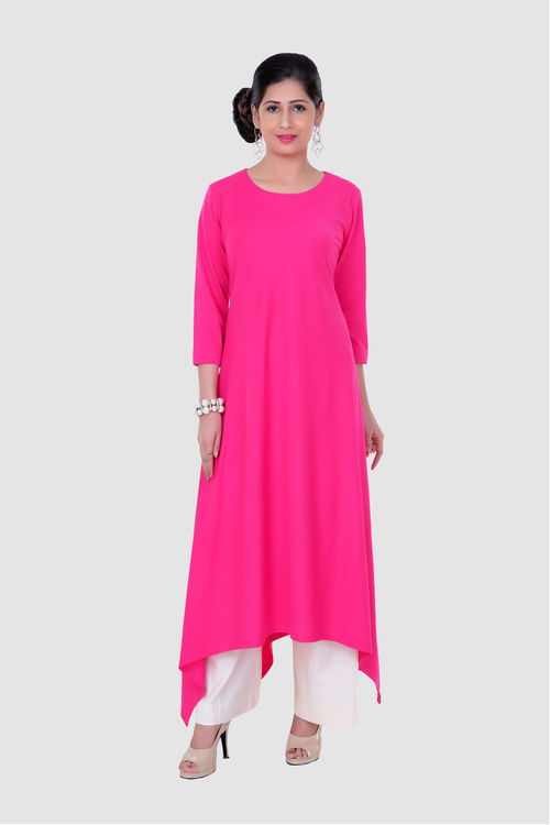 Fuschia Pink uneven Tunic