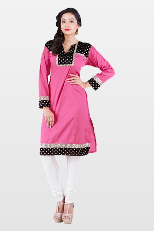 Light pink cotton and brocade kurti