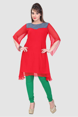 Butterfly sleeved fine Georgette Kurti