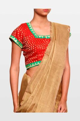 Red and green brocade blouse