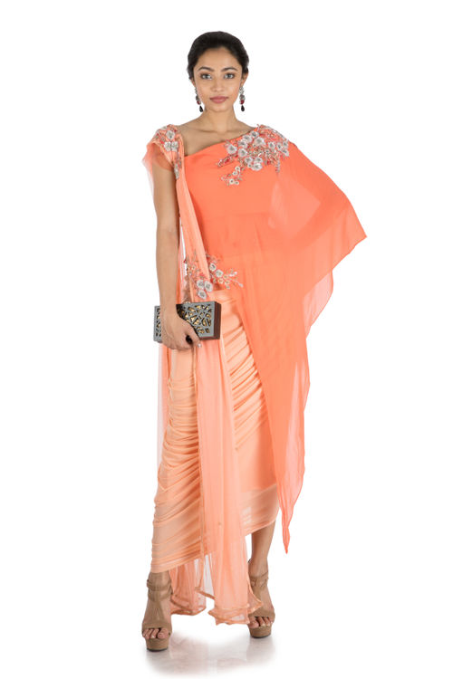 Salmon Asymmetrical Cape Top With Drape Skirt