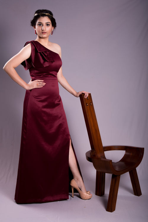 Red Wine One Shoulder Gown