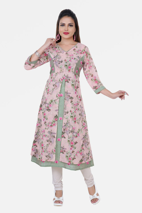 Floral A line Kurti with princess cut