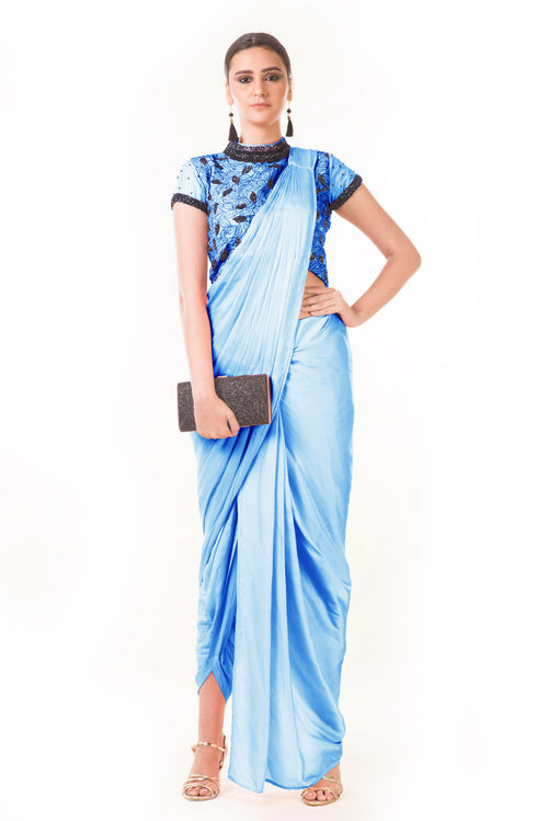Draped Dhoti with Shaded Palla & Patta work Croptop