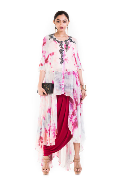 Tie & Dye Cape Top With Corset & Drape Skirt