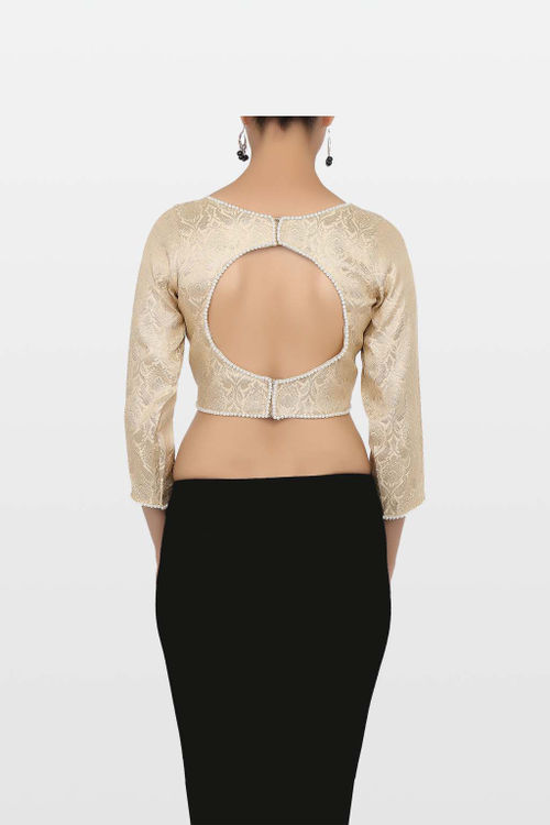 Golden Brocade Blouse with Back Keyhole