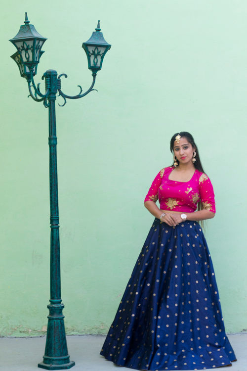 Hot Pink and Navy Blue Lehenga