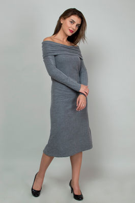 Off-the Shoulder Long Charcoal Dres