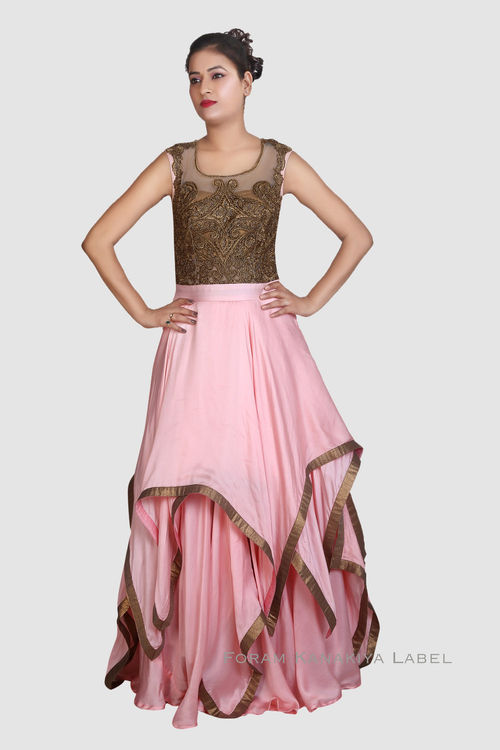 Baby pink & antique gold Gown