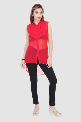 Red Sheer Tunic
