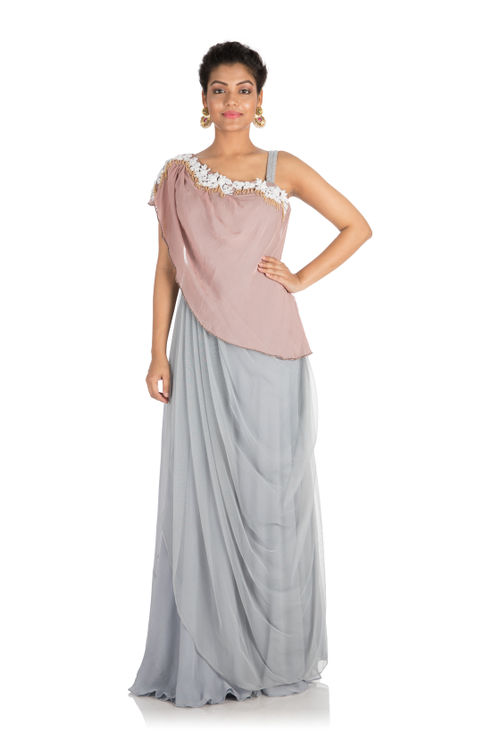 Drape Dress with One Sided Cape