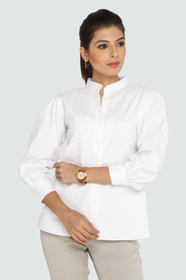 Drama Puffed Sleeve White Shirt