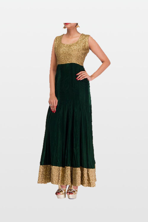 Graceful Green Velvet Ankle Length Anarkali Dress