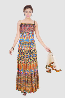 Printed Gown with Cape