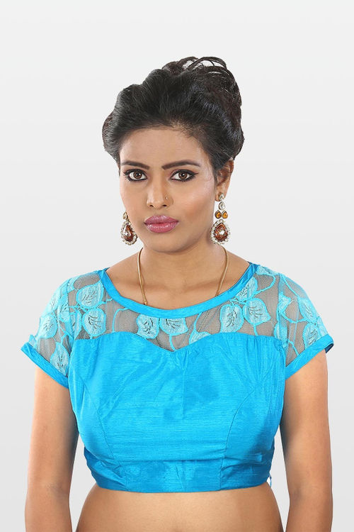 Turquoise Blue Chantilly Lace Blouse