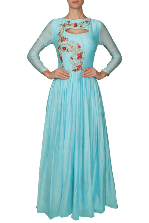 Chanderi Silk Blue Gown