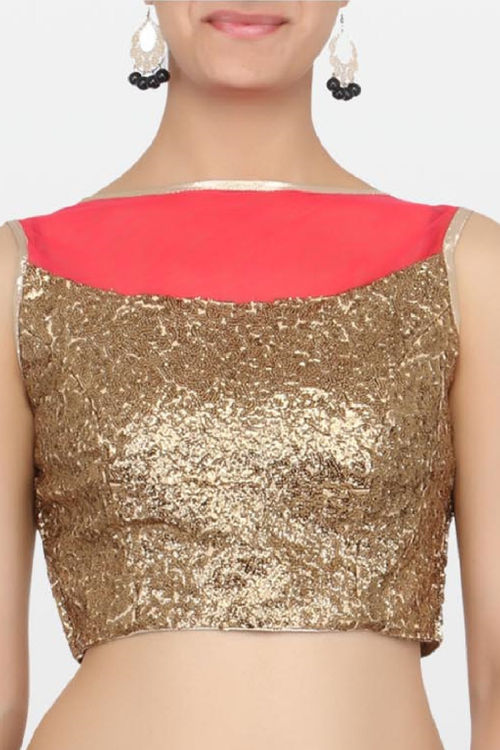 Golden and Red Net Blouse