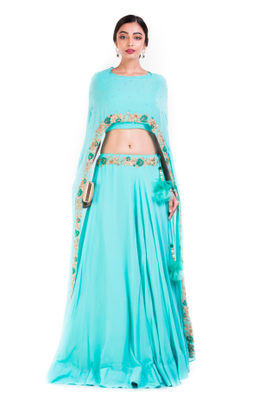 Sky Blue Cape Lehenga  Set