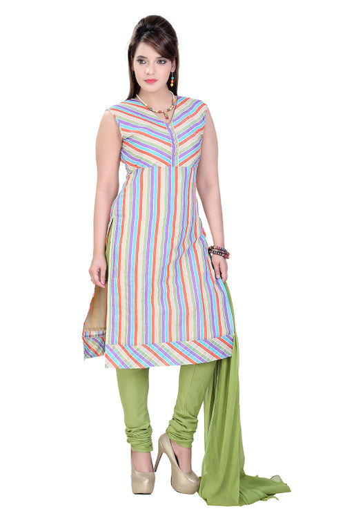 Striped Chanderi Salwar Kameez