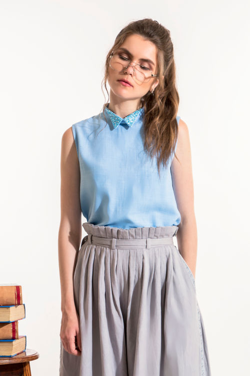 Light Blue Collared Top