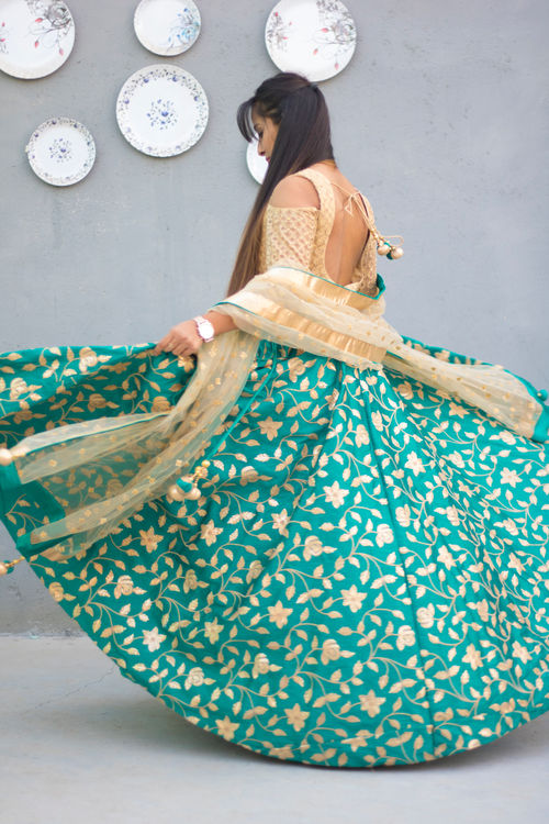 Teal Green and Gold Lehenga Set