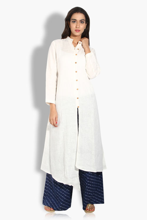 Asymmetric Cotton Button Down Kurta
