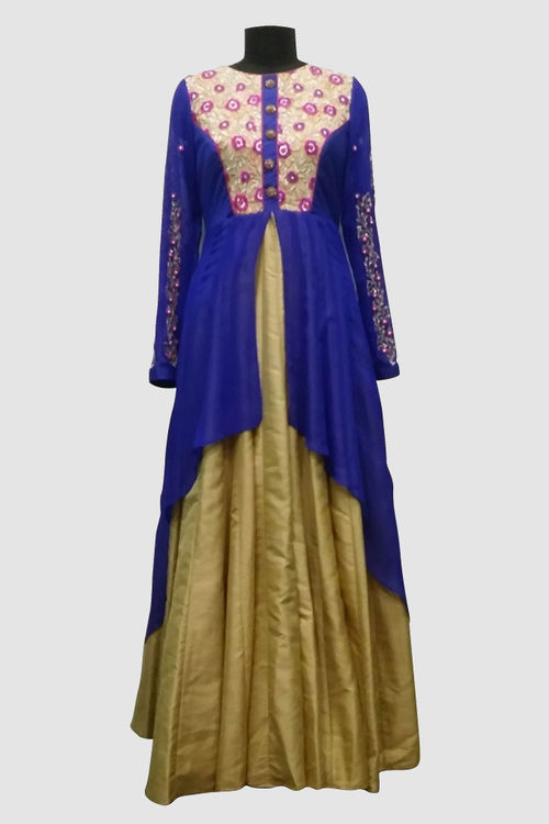 Floor length gown with embroidered sleeves and front yoke