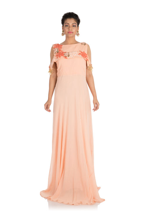 Hand embroidered Light peach long cold shoulder dress